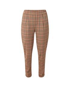 High rise tapered fit cropped pantalon met persplooi en ruitdessin