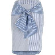 Blauwe gestreepte rok met strik voor