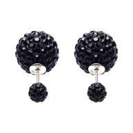 Karma Double Dots Black Crystal Oorbellen 11003