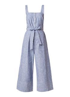 Cropped jumpsuit van linnen met streepdessin