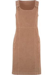 Dames stretch jurk zonder mouwen in bruin