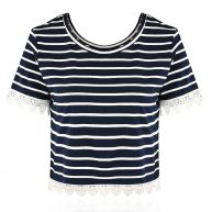 Striped Lace Top - Blue