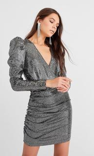 Sequin dress with puff sleeves DAMES Donkergrijs L