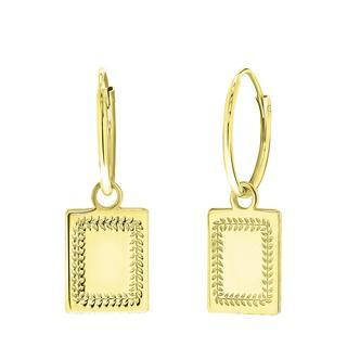 Zilveren oorbellen goldplated Romeinse krans