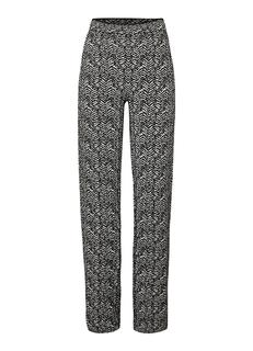 High rise wide fit fijngebreide pantalon met zigzag dessin