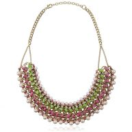 Colored Chain Necklace - Green & Pink