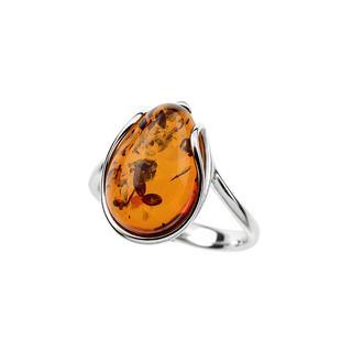 Zilveren ring met een Baltische barnsteen ()