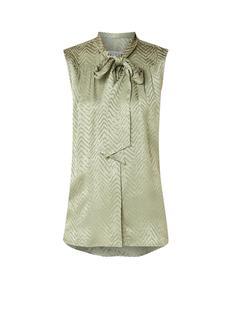 Rose mouwloze blouse met ingeweven zigzag dessin