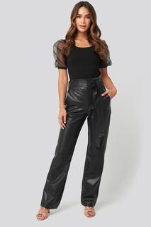 Faux Leather Belted Straight Leg Pants