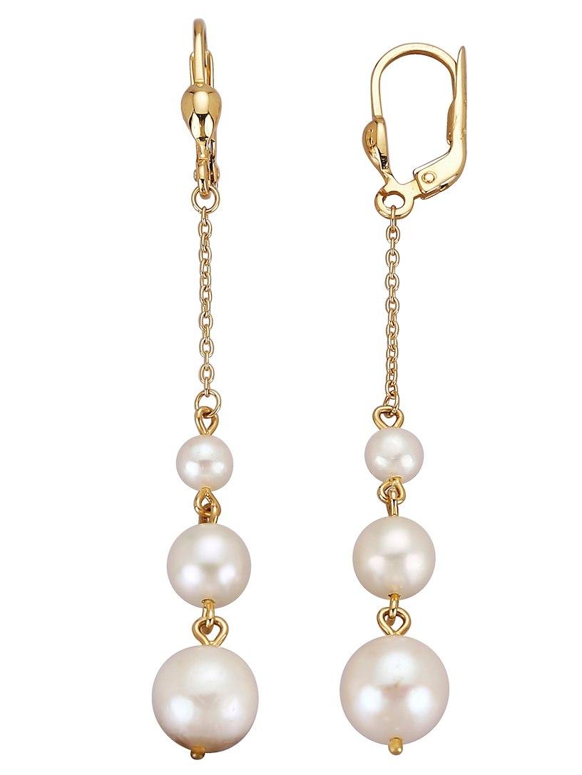 Boucles D'oreilles Klingel Avec Perles D'eau Douce Blanches Choisir Un Meilleur En Vente À Chaud QuW1SX4n