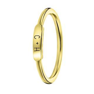 Zilveren ring goldplated bar zwarte gravering