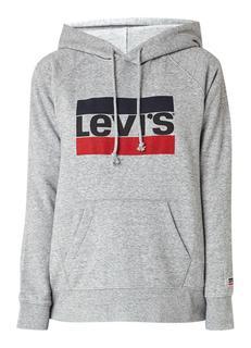 Gemêleerde hoodie met logoprint