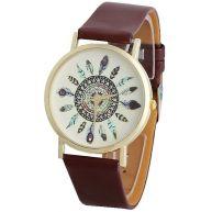Fako Bijoux® Horloge Quartz Indiana Bruin