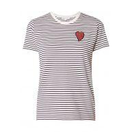 Maje Teddy T-shirt van katoen met streepdessin en strassapplicatie