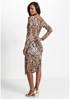 Dames midi jurk met luipaardprint lange mouw in bruin