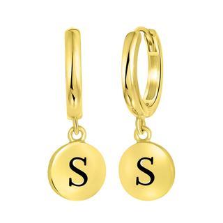 Zilveren oorbellen alfabet goldplated