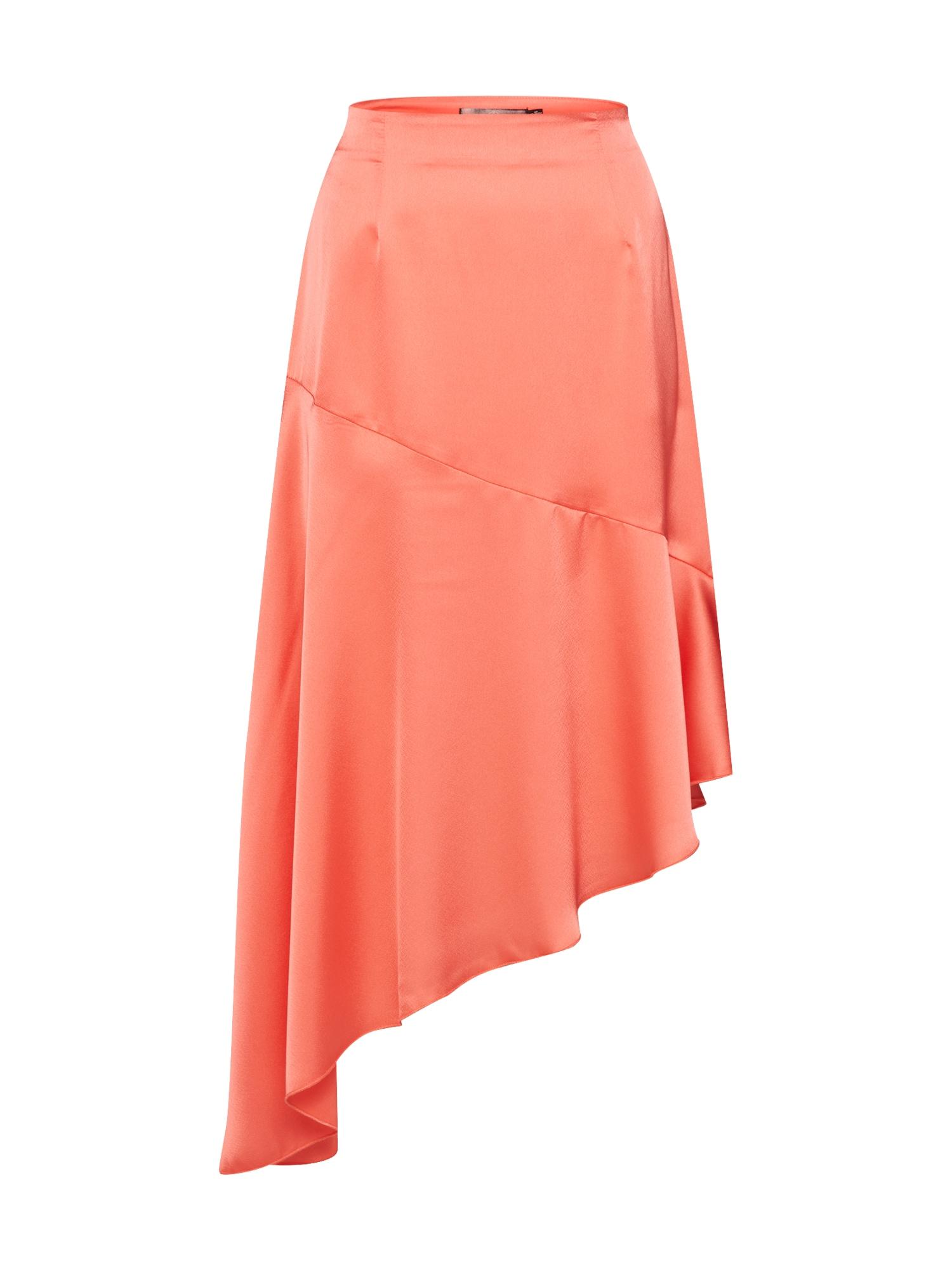 Coral' Asymmetric 'satin Skirt Missguided Rok kXnO08wP