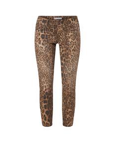 Mid waist slim fit jeans met luipaarddessin