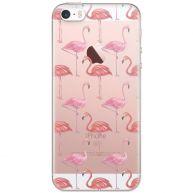 iPhone 5/5S/SE transparant hoesje - Flamingo