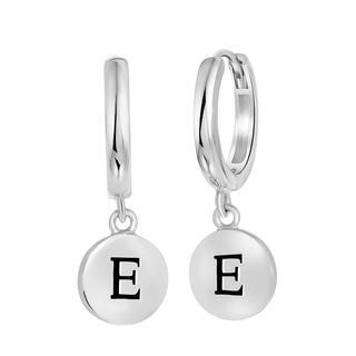 Zilveren oorbellen alfabet rhodiumplated