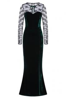 50s Celine Lace And Velvet Maxi Dress in Green