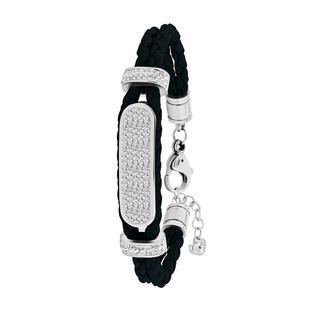 Stalen plaatarmband leer zwart met kristal