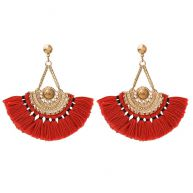 Boho Tassel Earrings Red - Gold/Silver