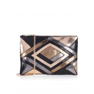 TOPSHOP Patchwork clutch met metallic finish