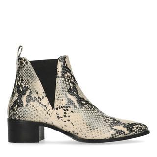 Beige snakeskin chelsea boots