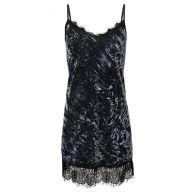 Crushed Velvet Lace Dress - blue/grey