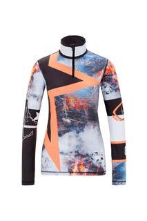 5489 Ilvy Dames Ski Pulli Met Rits Zwart Dessin