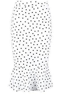 Petite Spot Print Frill Hem Midi Skirt