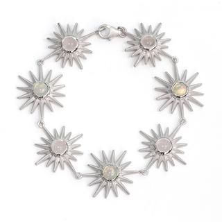 Zilveren armband met rozen kwartskristallen