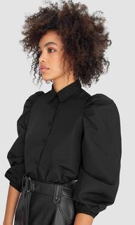 Popeline blouse met pofmouwen DAMES Zwart L