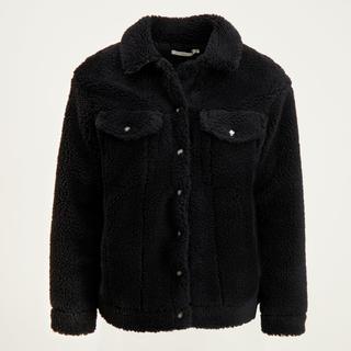 Zwarte oversized teddy jas