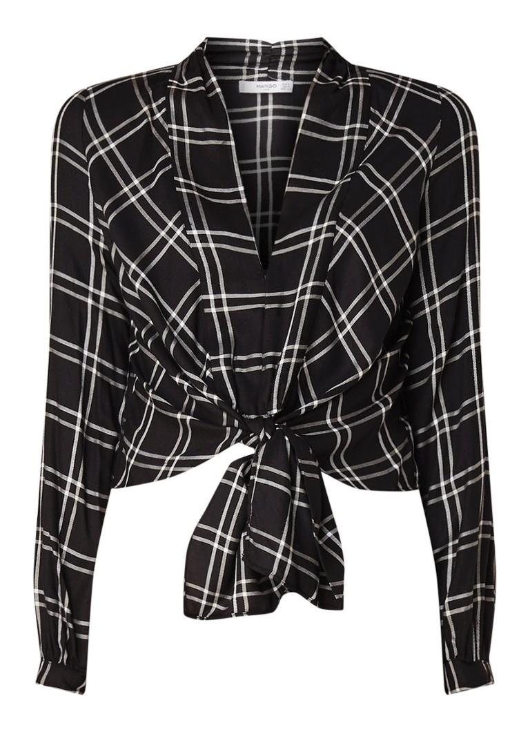Lencheck blouse met ruitdessin en knoopdetail