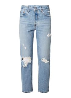 501 high rise cropped jeans met destroyed look