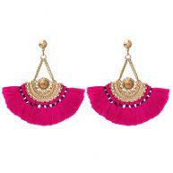 Boho Tassel Earrings Pink - Gold/Silver