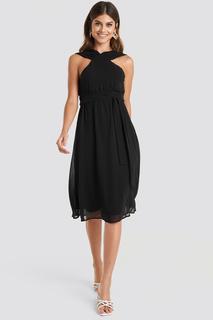 Wide Strap Halter Neck Midi Dress
