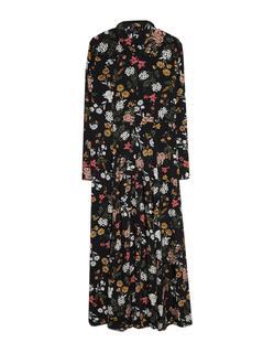 Lange jurk met print Zwart