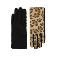 Furry Leopard Gloves - Brown