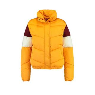 gewatteerde winterjas met all over print geel/wit/rood Gewatteerde jas (Dames) - Dames