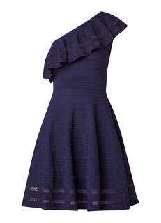 Streena one shoulder A-lijn jurk met volant en ribstructuur