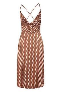 Satin Polka Dot Cowl Neck Midi Dress