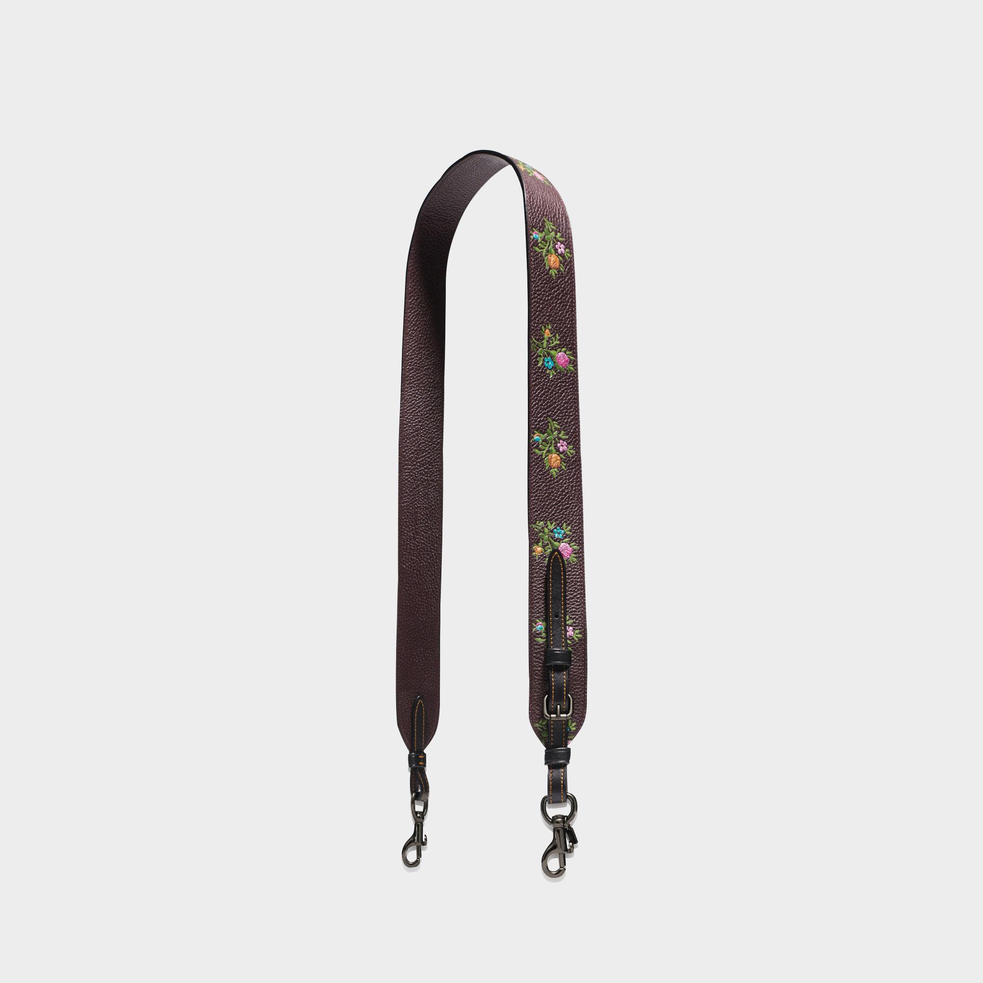 Topkwaliteit Te Koop Krijgen Om Te Kopen Coach Floral Printed Leather Bag Strap in Black Calfskin 7eOuT