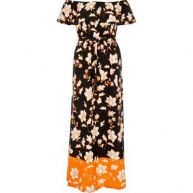 Zwarte bardotmaxi-jurk met print