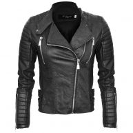 PADDED BIKER JACKET black