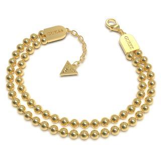 stalen goldplated armband 2-rij bol Pompom