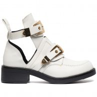 WHITE CUT OUT BUCKLE BOOTS-41