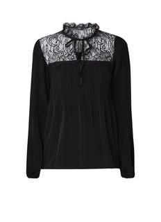 Lockette plissè blouse met inzet van kant